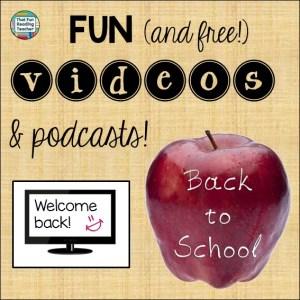 Back to School videos playlist free on ThatFunReadingTeacher.com