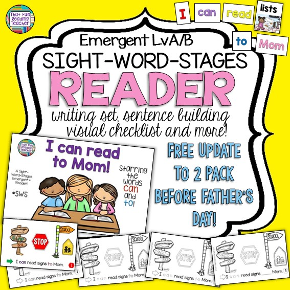 I can read to mom - Level A / B Sight Word Stages Reader, Writing Activities and Sentence puzzles! #SWS $