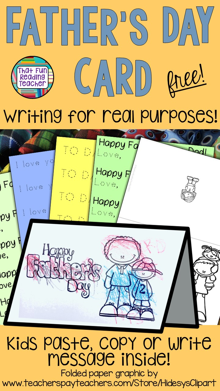 Fun and free printable Father's Day card for kindergarten and first grade students!