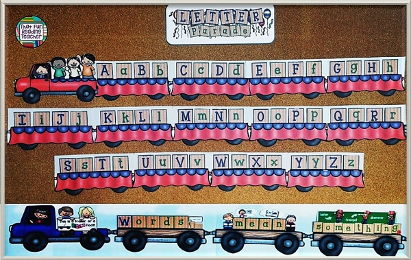This bulletin board can be easily used as a model for students playing with construction and craft materials. If there are building pieces available, those who are interested can (re)create words, names or just play freely with letters too! Think of it as a letter inquiry!