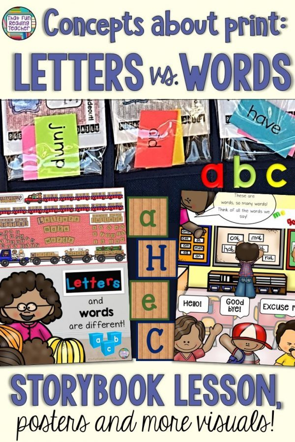 Teach kindergarten or first grade? Ensure your students know the difference between letters and words with this fun storybook lesson and visuals! $ #earlylearning #teaching #reading #teachwithbooks #tpt #teacherspayteachers