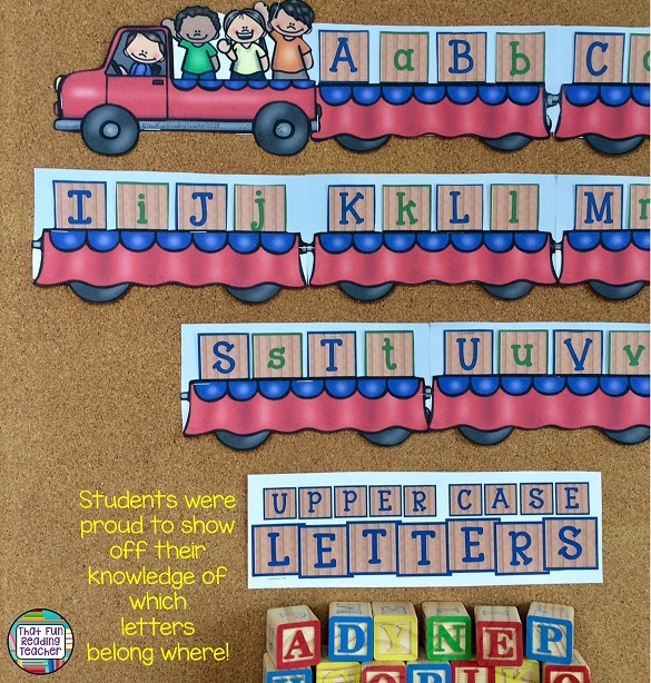 Students were proud to show off that they knew how to sort alphabet blocks by upper and lower case! | That Fun Reading Teacher