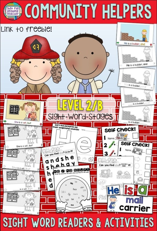 A fun guided reading set with Level 2 books and sight-word activities that link nicely to our Community Unit in Social Studies! $