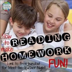 How to make reading homework fun by That Fun Reading Teacher