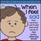 When I feel sad - color & b+w printable story K-3 #DWF $