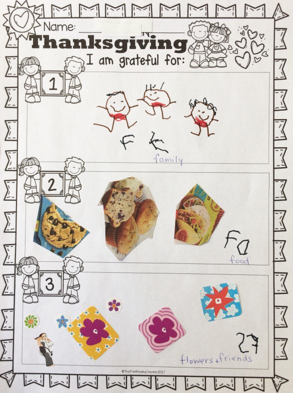 One of my kindergarten students used this organizer from Autumn / Fall Read and Write and More to show what she is grateful for.