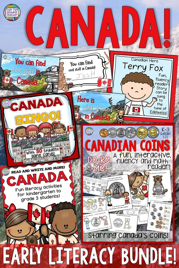 Teaching kindergarten and primary students about Canada?  This fun, Canada-themed bundle combines early literacy skill practice, vocabulary, reading, writing, social studies and math (Canadian coins)! Click through to view details of individual products included! $ #Canada #teaching #tpt #teacherspayteachers #elementary #thatfunreadingteacher #earlylearning #earlyliteracy