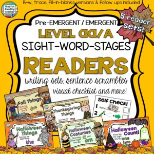 Autumn, Thanksgiving and Halloween PreEmergent / Emergent sight-word readers, sentence puzzles and more! $