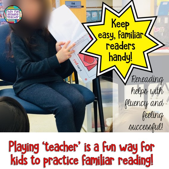 Looking for a way to encourage beginning readers? Leave easy, familiar books beside the teacher's chair and see what happens! #kindergarten #reading #playingteacher #familiarreading #education #learningthroughplay