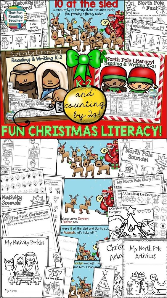 Fun Christmas Literacy activities for K-2! $