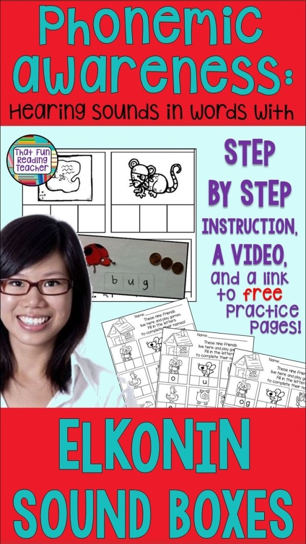 How to teach kids to hear the sounds in words with Elkonin sound boxes - video and link to free practice pages! #phonemicawareness #Elkoninsoundboxes #iteachreading #earlyliteracy #iteachfirst
