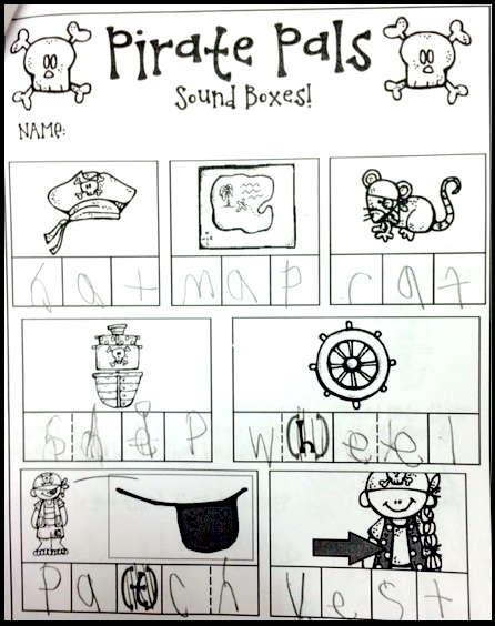 Pirate Pals Elkonin Boxes page without vowels