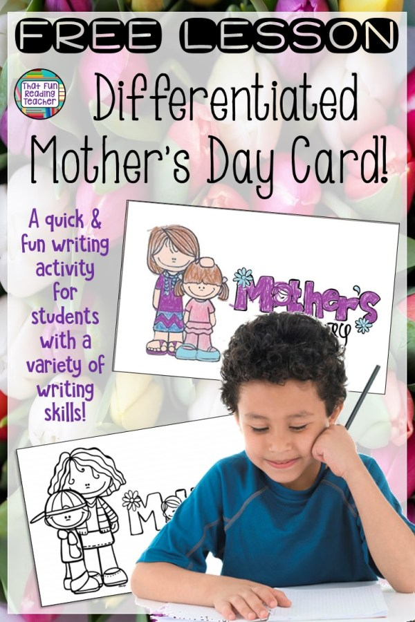 Free lesson A quick and fun Mother's Day writing activity for students with a variety of writing skills #MothersDay #writing #kindergarten #earlylearning #writinglesson