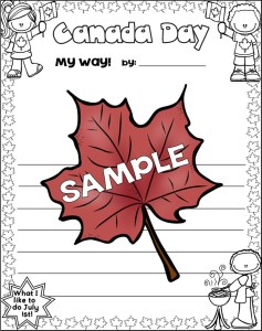 Canada Day Read and Write and More writing paper sample