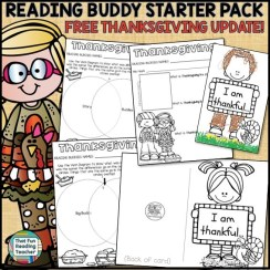 Thanksgiving activities in Reading Buddy Starter Pack - free update November 2016!