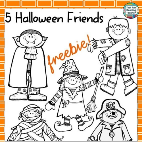 5 Halloween Friends cut-outs October freebie!