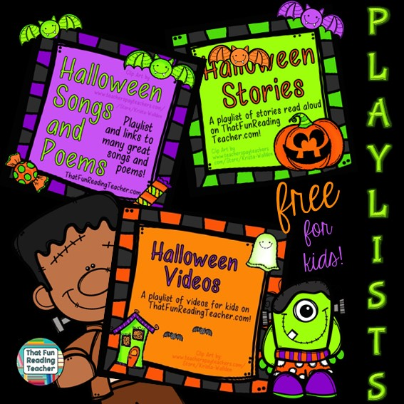 Halloween playlists for kids on ThatFunReadingTeacher.com