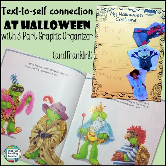 Text to self connection with 3 part graphic organizer #Halloween