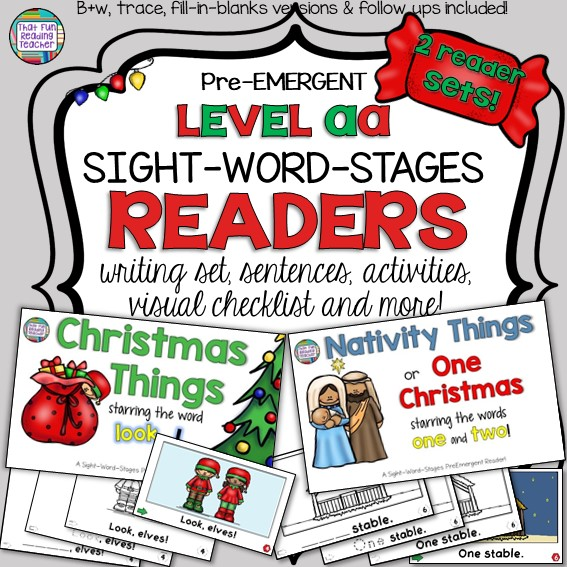 Christmas and Nativity themed PreEmergent Sight-word readers! Color and 3 line-art versions with sentence puzzles and follow-up fun! $ #Christmas #Nativity #preemergent #reading #sightwords #teaching #earlyliteracy #fun #kindergarten #SWS