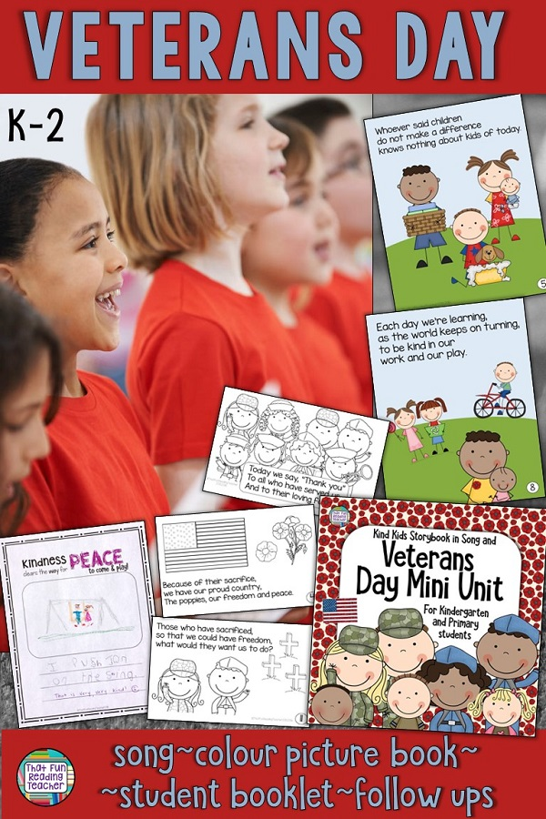 Veterans Day Resource for primary, kindergarten - Color and line art song book, printables $ #RemembranceDay #primary #kindergarten #tpt #teacherspayteachers