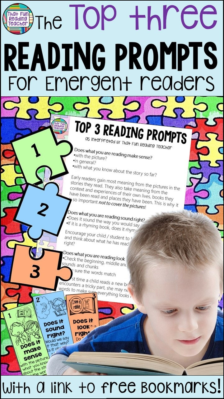 Teaching emergent readers the very basics of reading, and overwhelmed by the number of reading prompts to choose from? The following top three prompts form the basis of what good readers naturally do. Click through to read more, and to download the free Top 3 Reading Prompts bookmarks!  #teaching #reading #tpt #freeteachingresources #thatfunreadingteacher