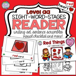 Teaching beginning readers on Valentine's Day? This fun PreEmergent color reader includes differentiated line art versions to practice the sight word 'red' along with fun follow-up printables! $