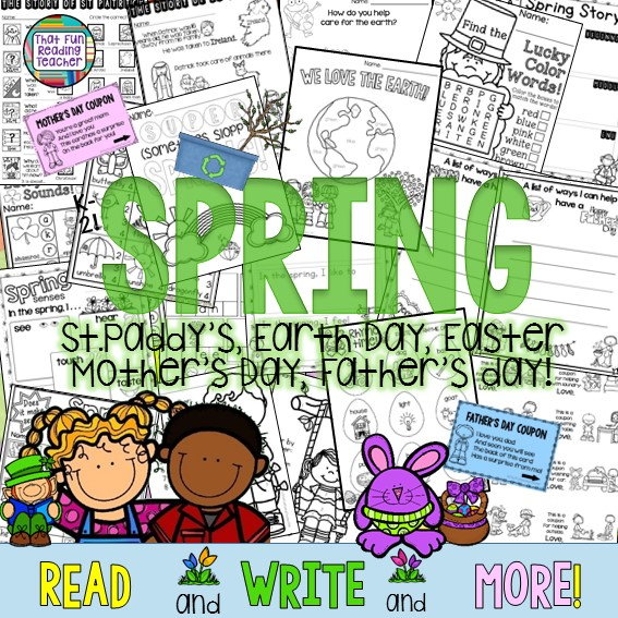 Fun, printable Spring Literacy Activities K-2! St. Patrick's Day, Earth Day, Easter, Mother's Day, Father's Day $