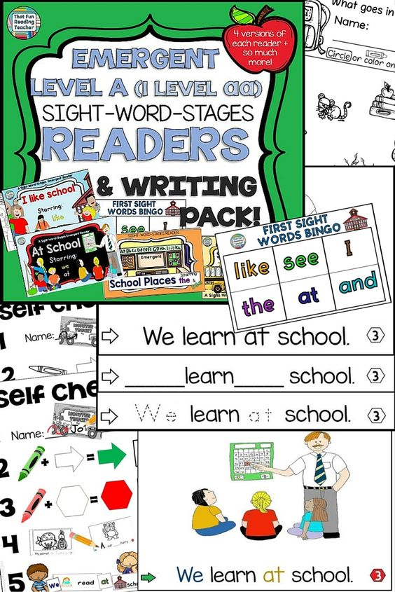 School Level aa Level A Sight Word Readers and Writing Activities Set $