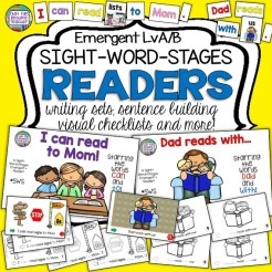 Kindergarten and first grade guided reading groups will enjoy these two Level A/ B sight word readers, with fun sentence scramble and writing activities suitable for any time of year. Ideal for Mother's Day and Father's Day! $