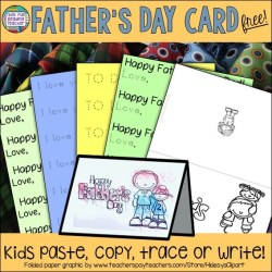 Fun and free printable Father's Day card for kindergarten and first grade students! #fathersdaycard #kindergarten #fathersday #teacherspayteachers #tpt #free