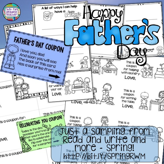 Fun Father's Day graphic organizer, writing / drawing paper, and 8 line-art coupons for helping dad are included in Read and Write and More: Spring! $