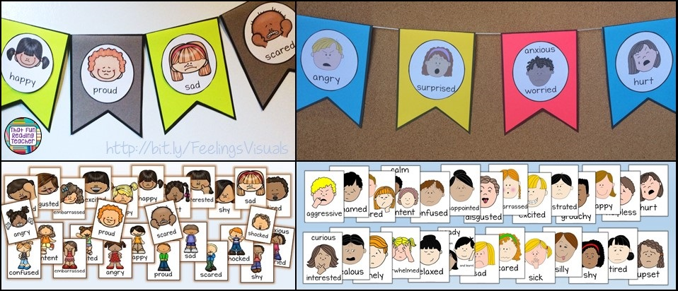 I like to display these half-page feelings flags where kids can point to them. The posters below are full-page size, but are also included as playing cards in the set.