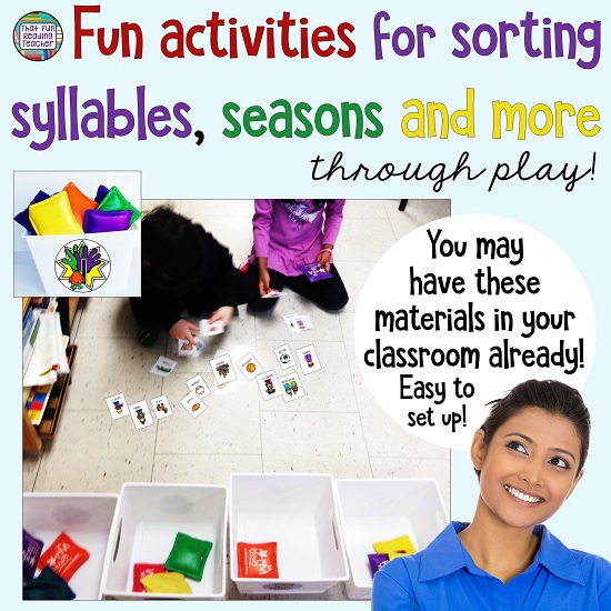 Fun activities for sorting syllables, seasons and more - through play