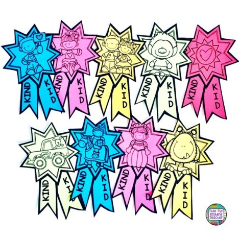 Kind kid ribbons - Part of Kindness bulletin board / picture book lesson pack $ #kindness #education #bulletinboard #kindergarten #primary