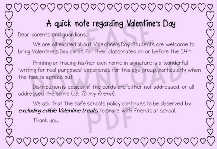 Valentine's day note to kindergarten parents and guardians