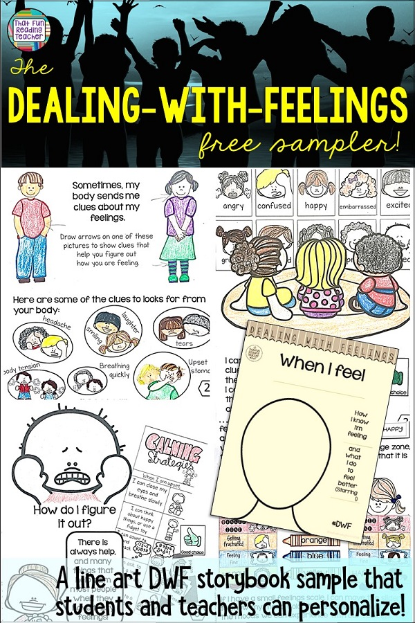 A FREE Dealing-With-Feelings line-art storybook lesson that students can customize themselves! #free #tpt #teacherspayteachers #feelings #emotions #teaching