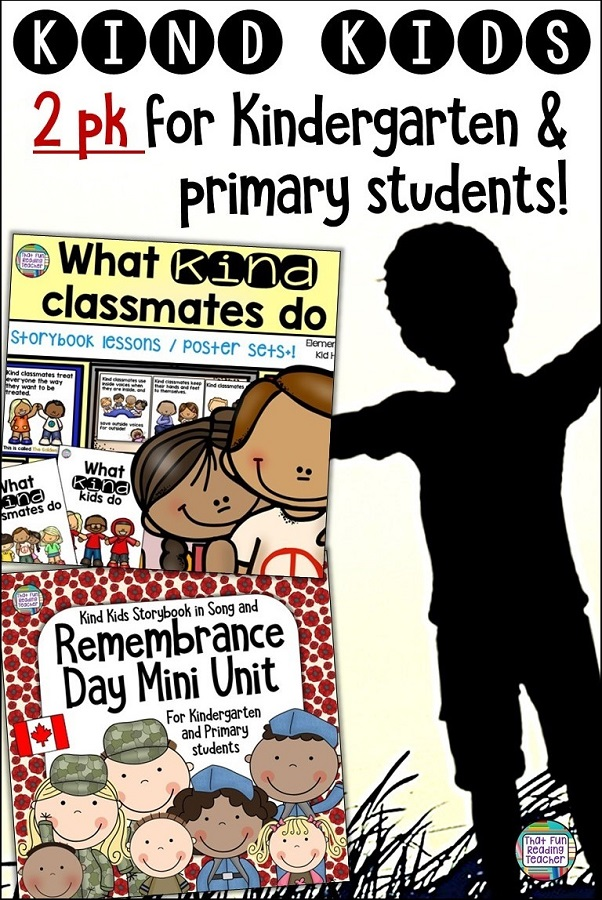 Teach kindness through stories, pictures, colouring, song and more with primary, kindergarten resources for #BTS and Remembrance Day ! $ #kindness #RemembranceDay #kindergarten #primary #teaching #tpt