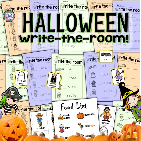 Halloween Write the Room literacy center with color 8 item food list for dramatic play area, 18 color Halloween image cards (traditional images, kids in costumes) and 6 half page Halloween Write the Room lists! #Halloween #kindergarten #writetheroom #earlylearning #tpt