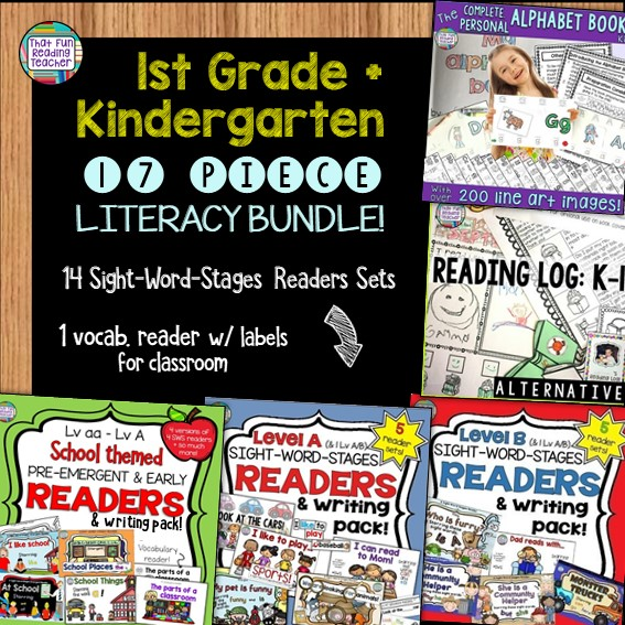 First grade and kindergarten teachers, click through to save with this bundle! Best-selling personal alphabet book kit, alternative reading log and 15 Level aa-B Sight-Word Reader, sentence puzzles and fun follow-ups sets included! $ #guidedreading #earlyliteracy #kindergarten #tpt #btsreadywithtpt #thatfunreadingteacher