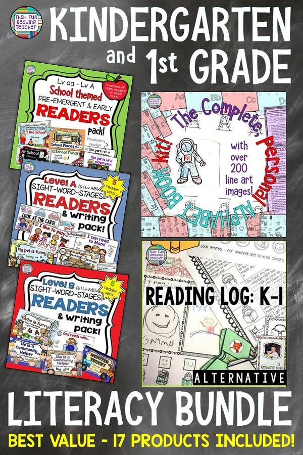 Ready to boost your Kindergarten or first grade literacy program? 15 beginning reader sets, a family-friendly alternative reading log and the best-selling personal alphabet book kit (17 products) are included in this best - value bundle! $ #kindergarten #1stgrade #earlyliteracy #tpt #thatfunreadingteacher