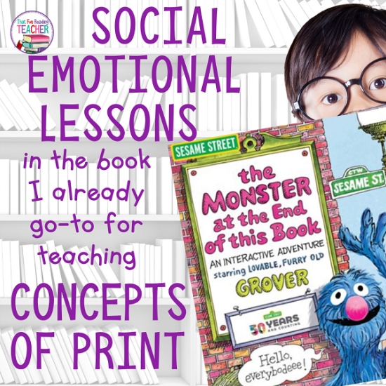 Social emotional lessons in the book I already go to for teaching Concepts of Print #sesamestreet #earlylearning #earlyliteracy #socialemotional #teaching #kindergarten #conceptsofprint
