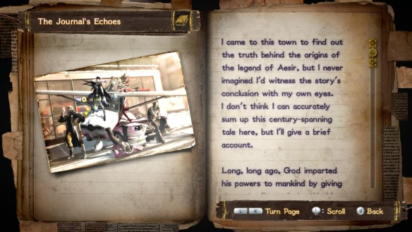 Partial journal entry in Bayonetta 2 displaying a summary of the game's plot