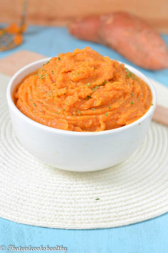 Easy mashed sweet potatoes vegan That Girl Cooks Healthy