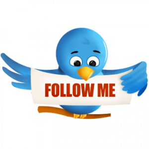 twitter bird holding follow me sign