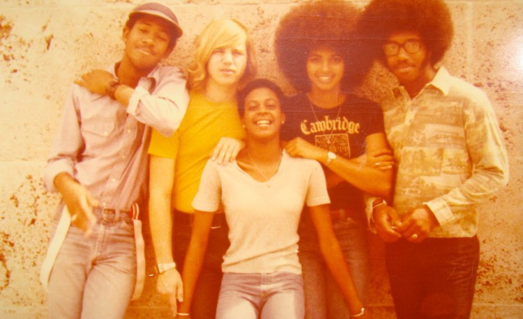 Cheryl Ragsdale and Friends College Freshman Sept 1976 with afro hairstyle