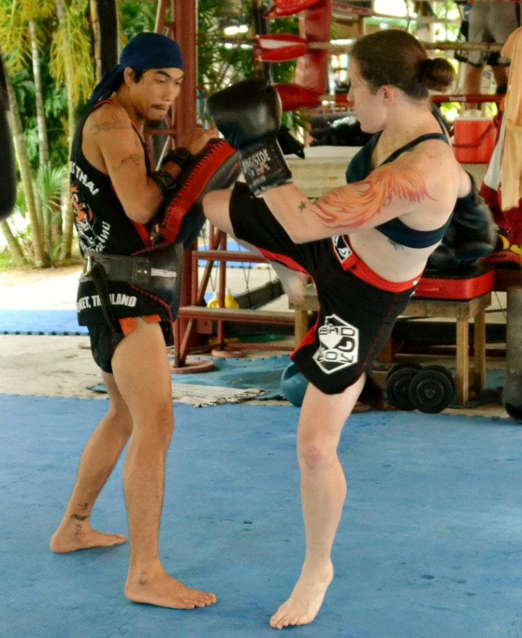 Sarah D'Alelio with trainer at Tiger Muay Thai in Thailand