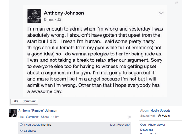 Rumble Johnson Facebook rant apology Aug 2015