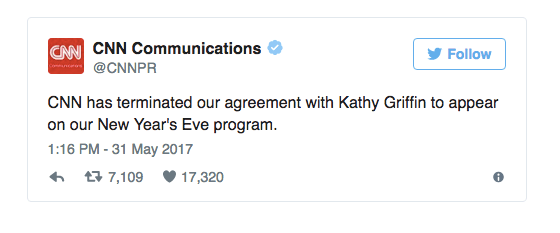 CNN publicly fires Kathy Griffin