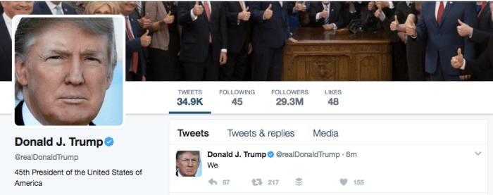 President tweets WE and gets 155 likes