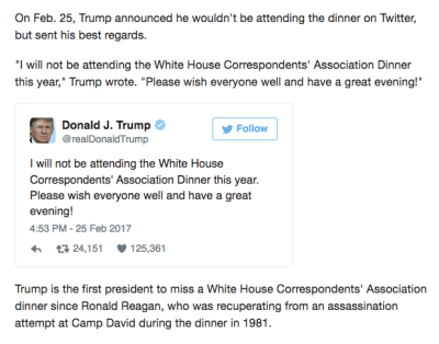 Trump not attending White House Correspondent dinner